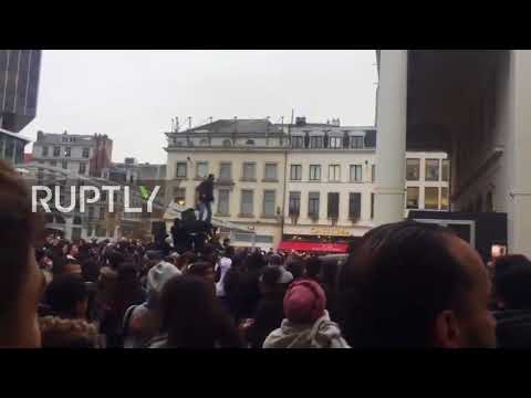 Belgium: Riot erupts at rap-star meet up in Brussels square