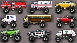 Мультик про машинки Монстр Траки: пожарная машина, скорая помощь, полицейская машина, мусоровоз