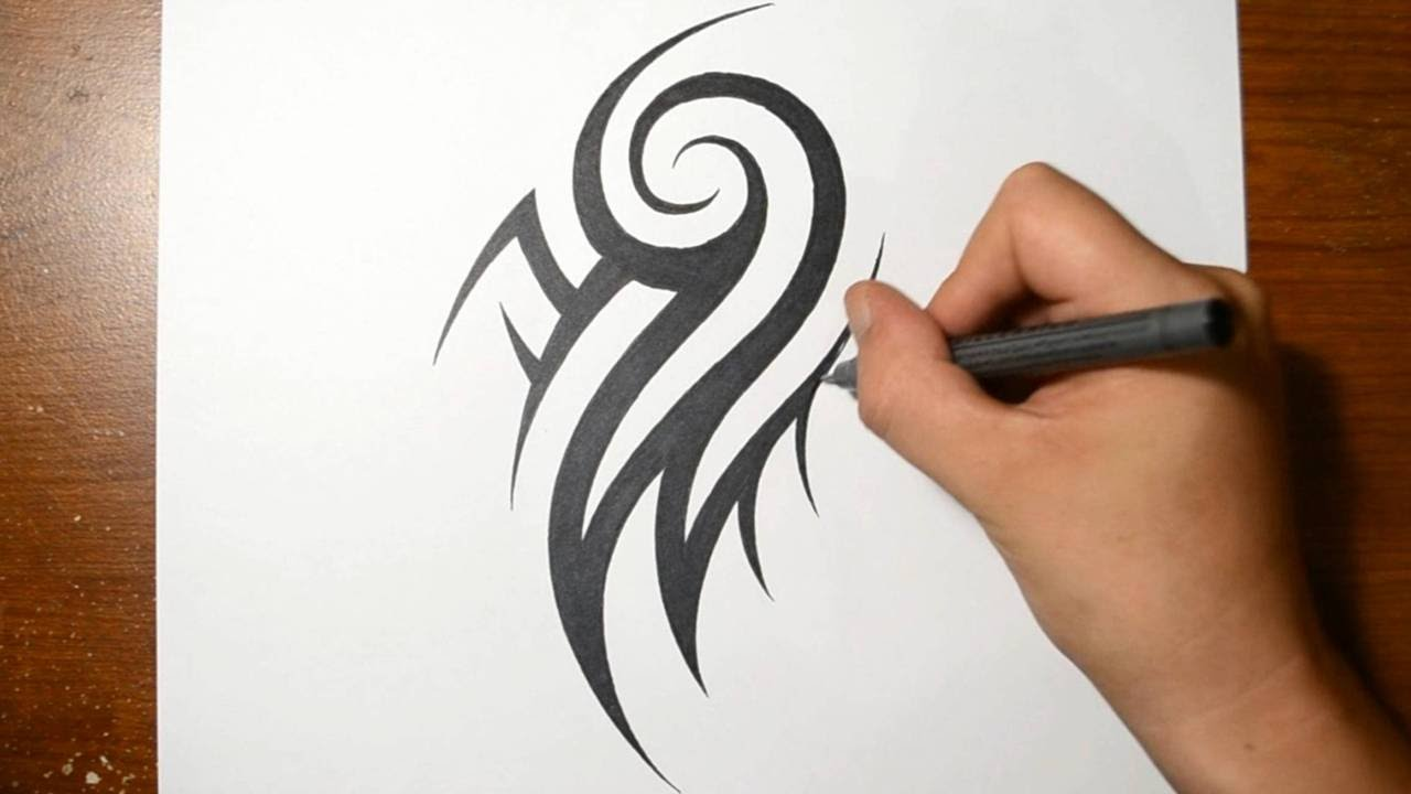 How to draw a cool tribal arm tattoo design youtube