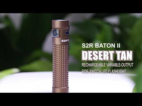 Senter Olight S2R Baton II Desert Tan Flashlight LED Rechargeable 1150 Lumens