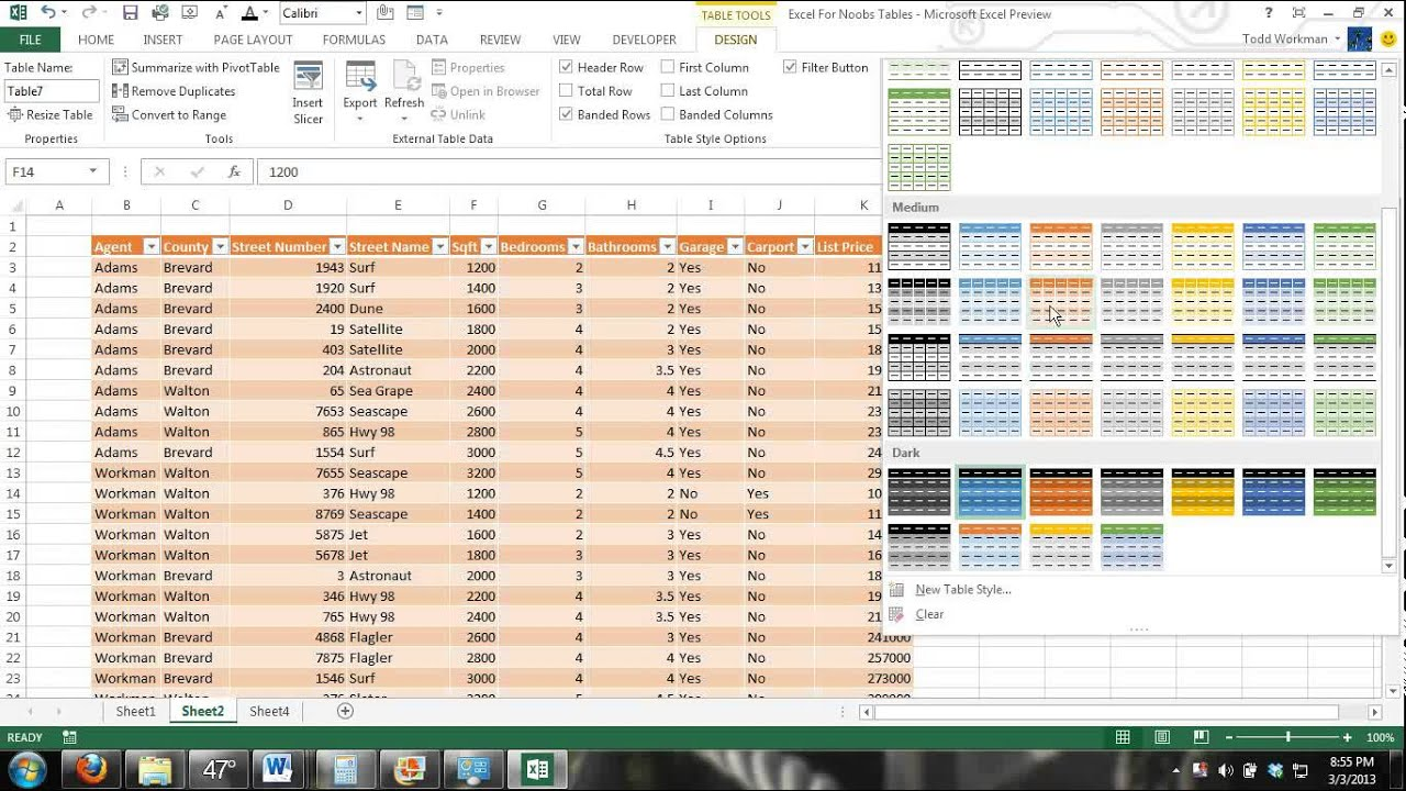 Excel tables tutorial 1 how to create and use excel for Excel table design