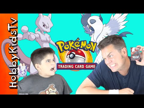 Pokemon Mega Mewtwo Vs Absol! Trading Card Game Battle HobbyKidsTV