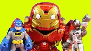 imaginext joker creates replica mega hulkbuster to destroy justice league batman cyborg superman