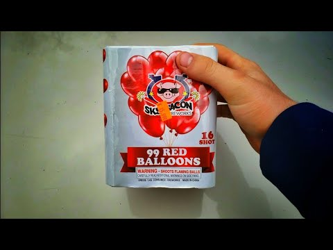 Skybacon Fireworks - 99 Red Ballons - 200g cake - 16 shots