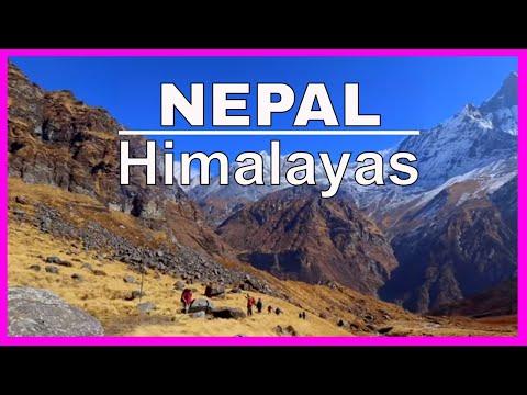 Annapurna Trek last day Trekking in Himalaya Mountains of Nepal hike & walk through villages