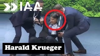 Harald Krueger, collapsed on stage while giving a presentation at the Frankfurt motor show