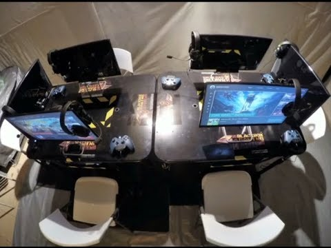 BGS Modular Console Gaming Table System plus VR & Racing Sim Rigs feat Electronaut by VNV Nation