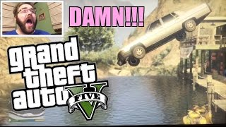 GTA 5 FAT MAN JUMPING CARS INTO THE RIVER TIL COPS KILL'EM ps4 Gameplay