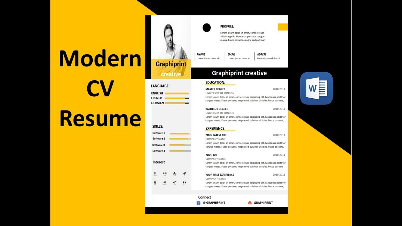 Modèle Cv Cv Moderne Microsoft Word Youtube