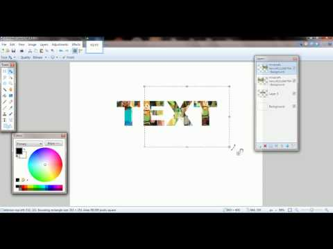 EASY paint dot net  image inside text   no plug-in needed