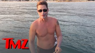 Rob Lowe Paddleboards with 2 Great White Sharks!!! | TMZ