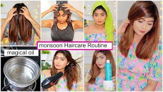 My Monsoon Hair Care Routine | Best Oil, Shampoo, Conditioner, Hair Serum | Rinkal Soni