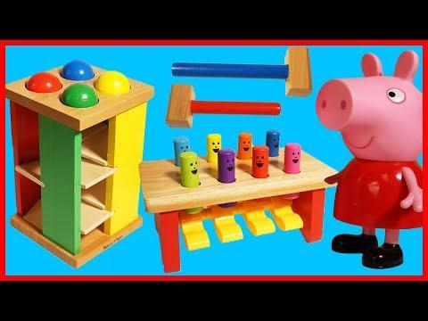 佩佩豬粉紅豬小妹玩敲擊玩具,認識顏色的兒童教育影片