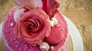 Торт #РозовоеБезумие на конкурс от Энди Шефа. Собираем, выравниваем и украшаем торт