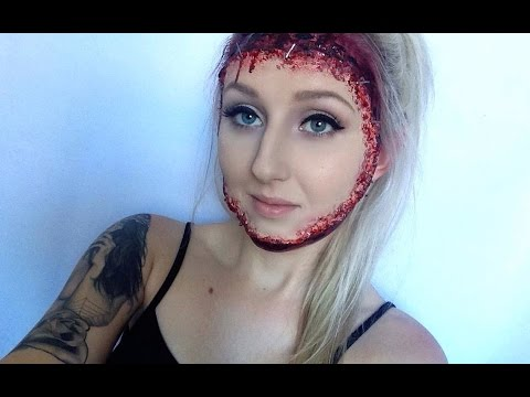 Gory Reattached Face Halloween Makeup Tutorial - YouTube