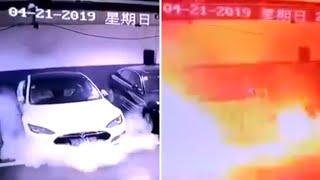 Tesla Fire Explosion Caught on Camera Fake? China Sabotaging Tesla For NIO?