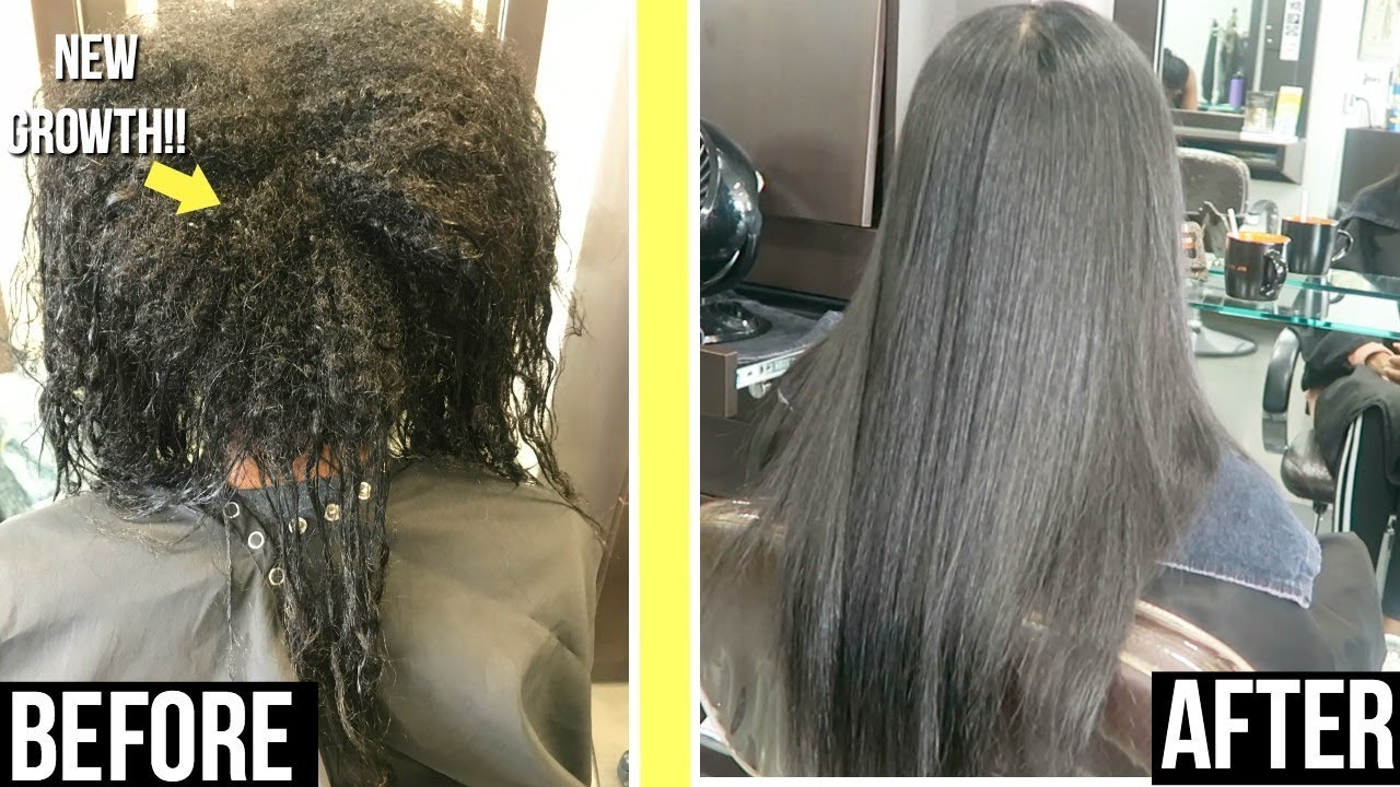 Keratin Treatment Routine On Relaxed Hair Length Update Youtube