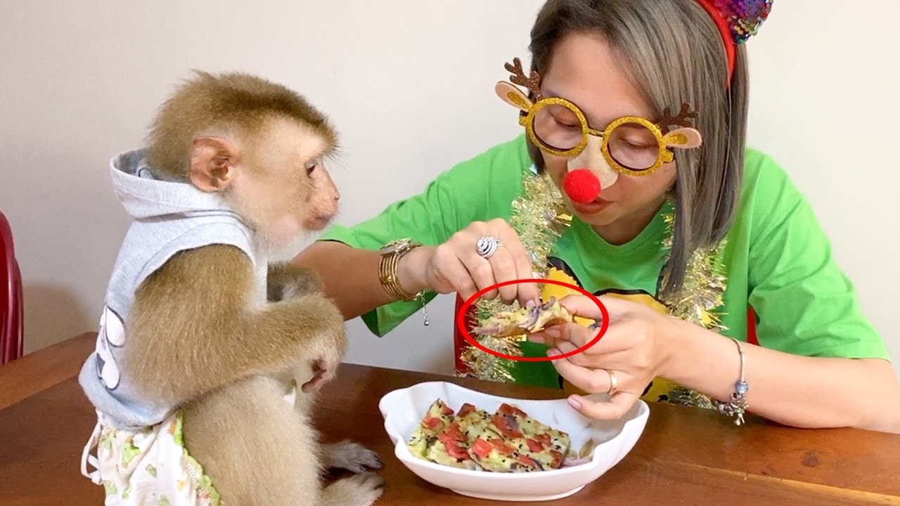 Baby Monkey | Mom Cook Cabbage With Onion To Eat With DouDou, Healthy Food