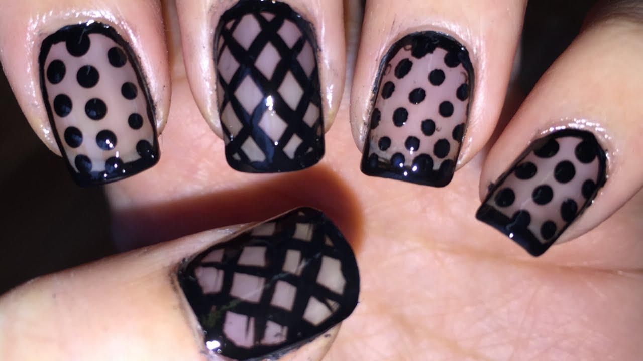 Polka dots and fishnet sheer black nail art - YouTube