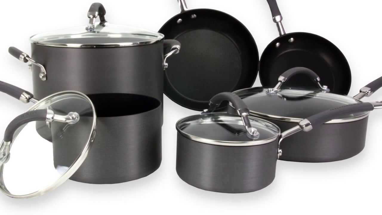 KitchenAid 10Piece Kitchen HardAnodized Nonstick Cookware Set