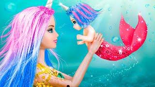 Narwhal Mermaid with Her Baby  10 DIY Baby Doll Hacks