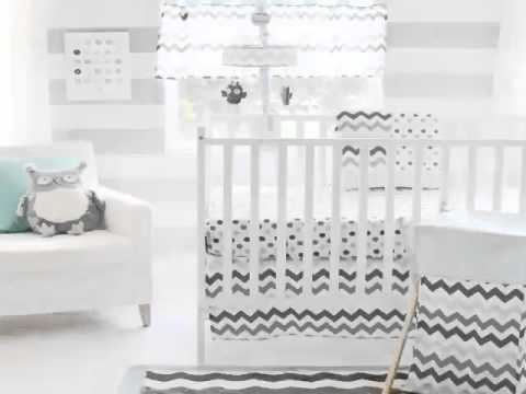 New My Baby Sam Chevron 3 Piece Crib Bedding Set, Aqua Gray Best