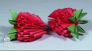 3д оригами: КЛУБНИКА ИЗ МОДУЛЕЙ