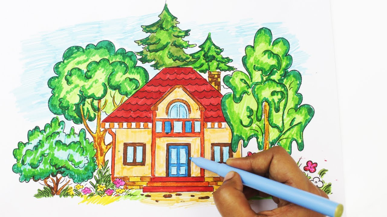 Coloring book real estate - Coloring A Beautiful House In The Woods Coloring Book Pages For Kids Learn How To Color A House