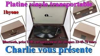 Platine vinyle transportable, Bluetooth, prise USB, enregistre des disques 33,45,78 tours 1byone