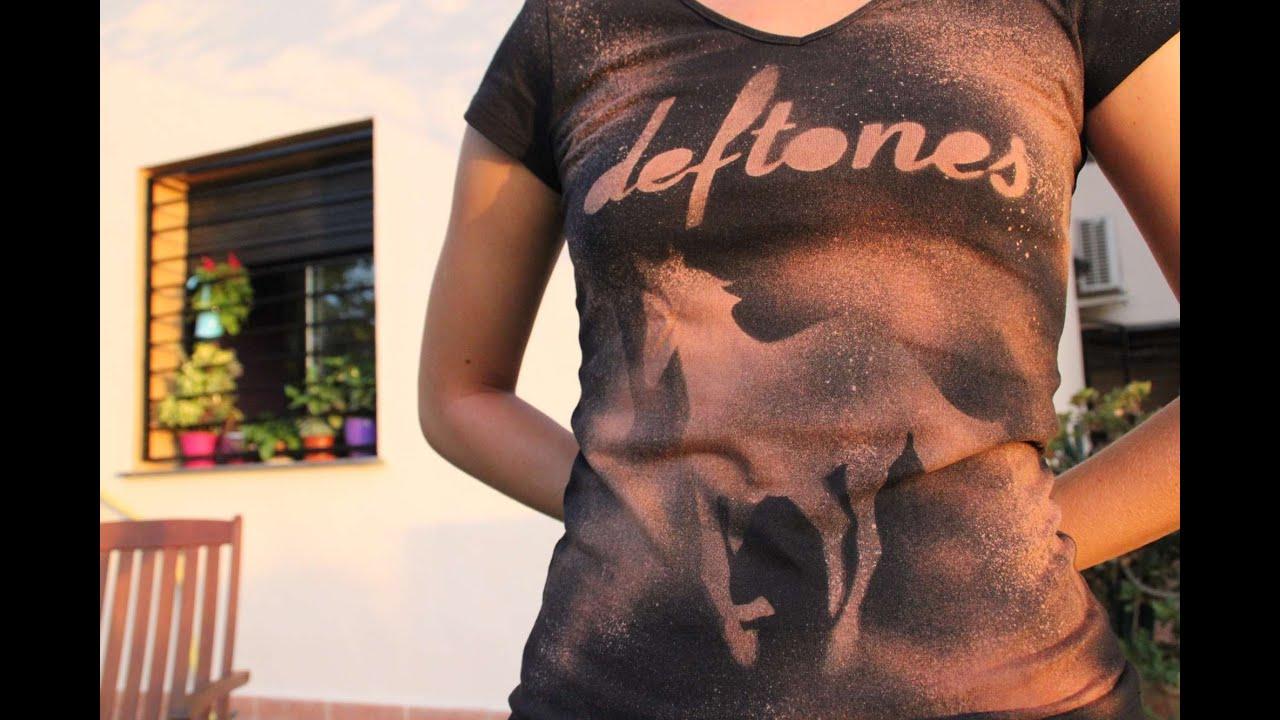 Shirt design using bleach - Diy Deftones Custom T Shirt Using Bleach Camiseta De Deftones A Base De Lej A