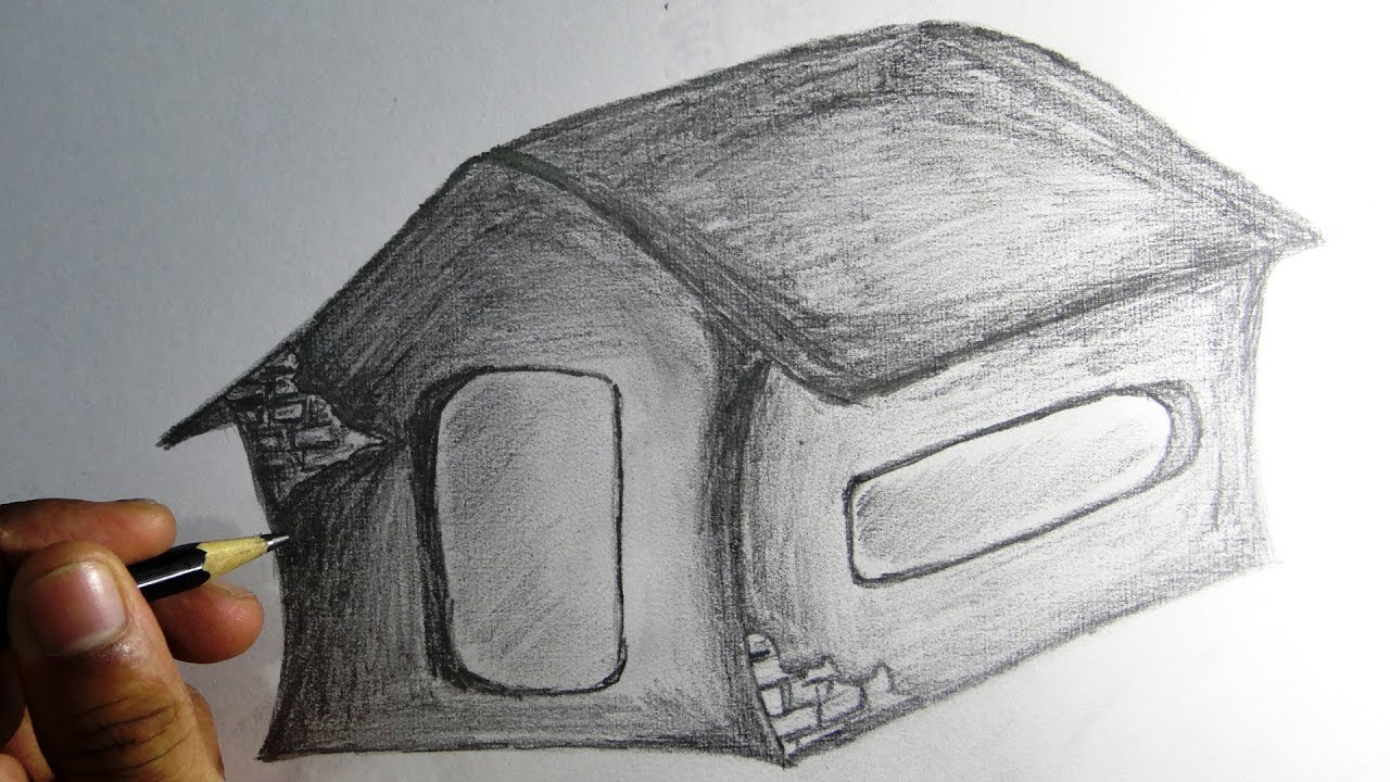 How To Draw House Pencil Drawing