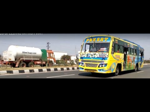 PNK SRT PRIVATE BUS, TNSTC SETC BUSED SPEEDING IN COIMBATORE SIX LANE HIGH WAY