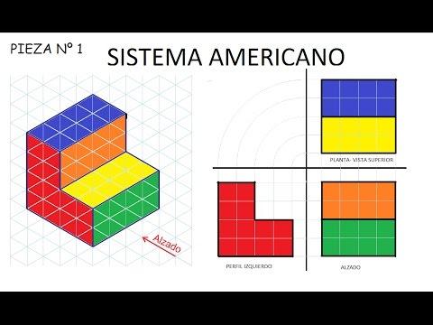 1 SISTEMA AMERICANO EJ 1 Alzado, Planta Y Perfil - Ejercicio De Vistas Sistema Diedrico