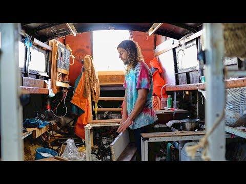 Engineer DIY Restores And Lives On Steel Sailboat // Liveaboard Tour.