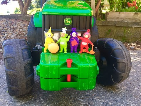 RIDING BIG GREEN TRACTOR with the Teletubbies Toys!