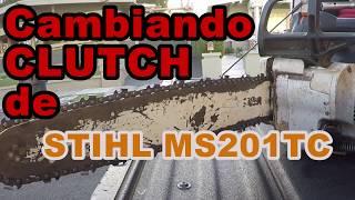 cambiando un clutch de stihl ms201ct con hilo de throwline