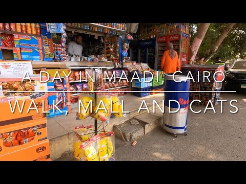 4K Walking in Maadi, Cairo, Egypt. Walk, Mall, supermarket and cats. Long play, out and about