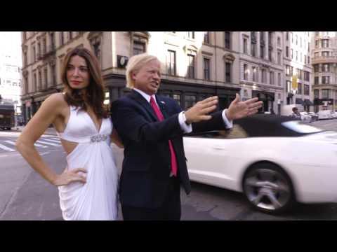 Donald Trump Impersonator John Di Domenico Directing Traffic NYC with Mira Tzur as Melania