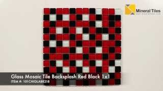 Glass Mosaic Tile Backsplash Red Black 1x1 - 101CHIGLABR218