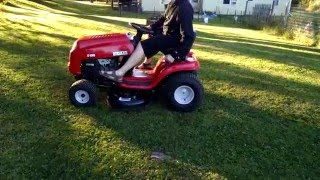 mowing in reverse huskee rider
