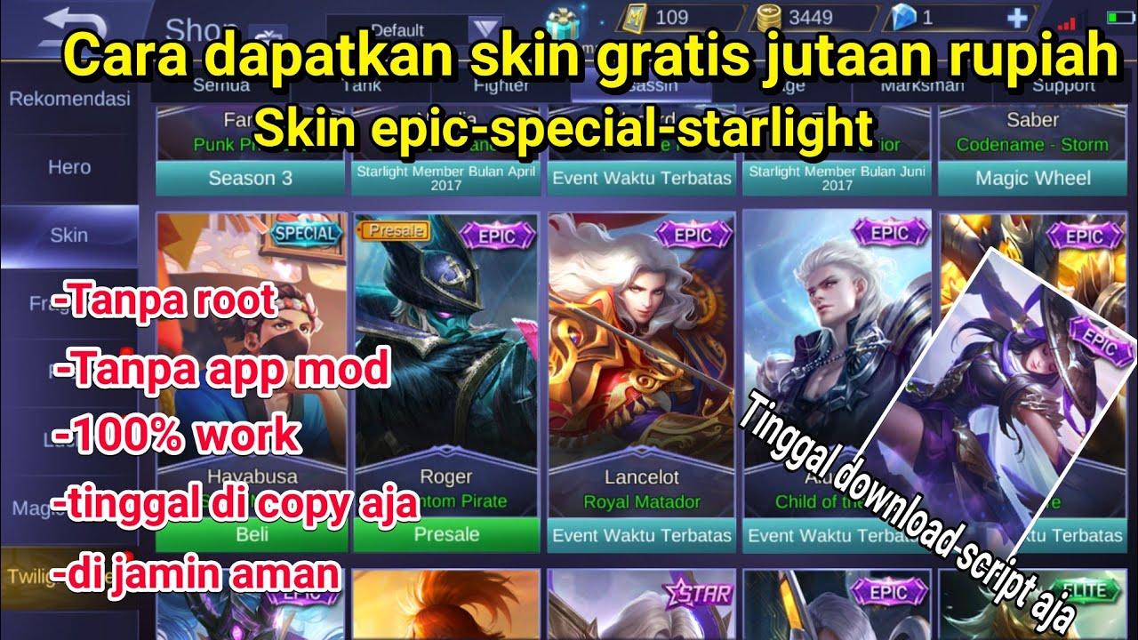 Skin Mahal Sekarang Gratis Cara Dapatkan Skin Gratis Tanpa Root Mobile Legends Youtube