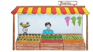 How to draw Fruit seller step by step