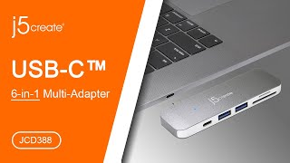 j5create® USB Type-C™ 6-in-1 Multi-Adapter JCD388