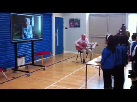 Brampton Primary School pupils sing to Dame Vera Lynn on her 100th birthday