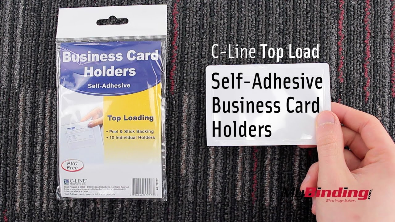 C-Line Top Load Self Adhesive Business Card Holders - YouTube