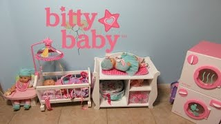 American Girl Bitty Baby Favorites! High Chair + Crib + ChangingTable + Washer Dryer+Changing Video!