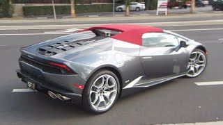 Lamborghini Huracán Spyder (startups, roof operation, driving)