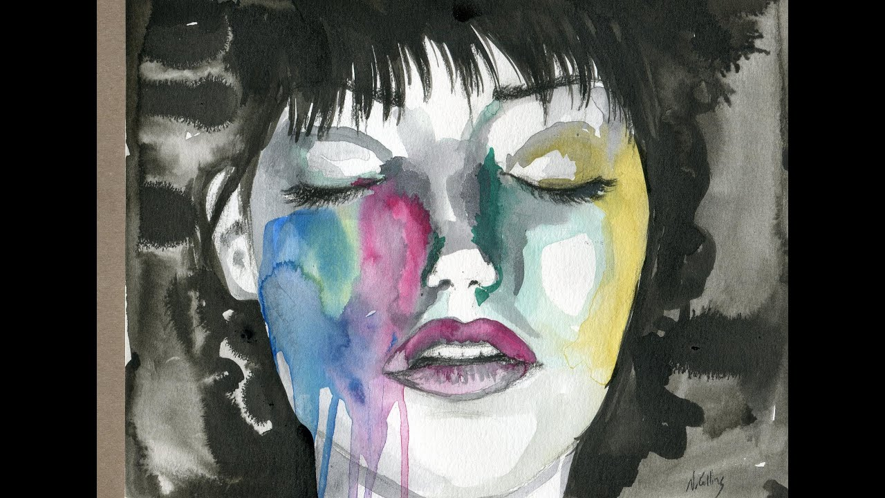 Face Ink Watercolor Charcoal Painting