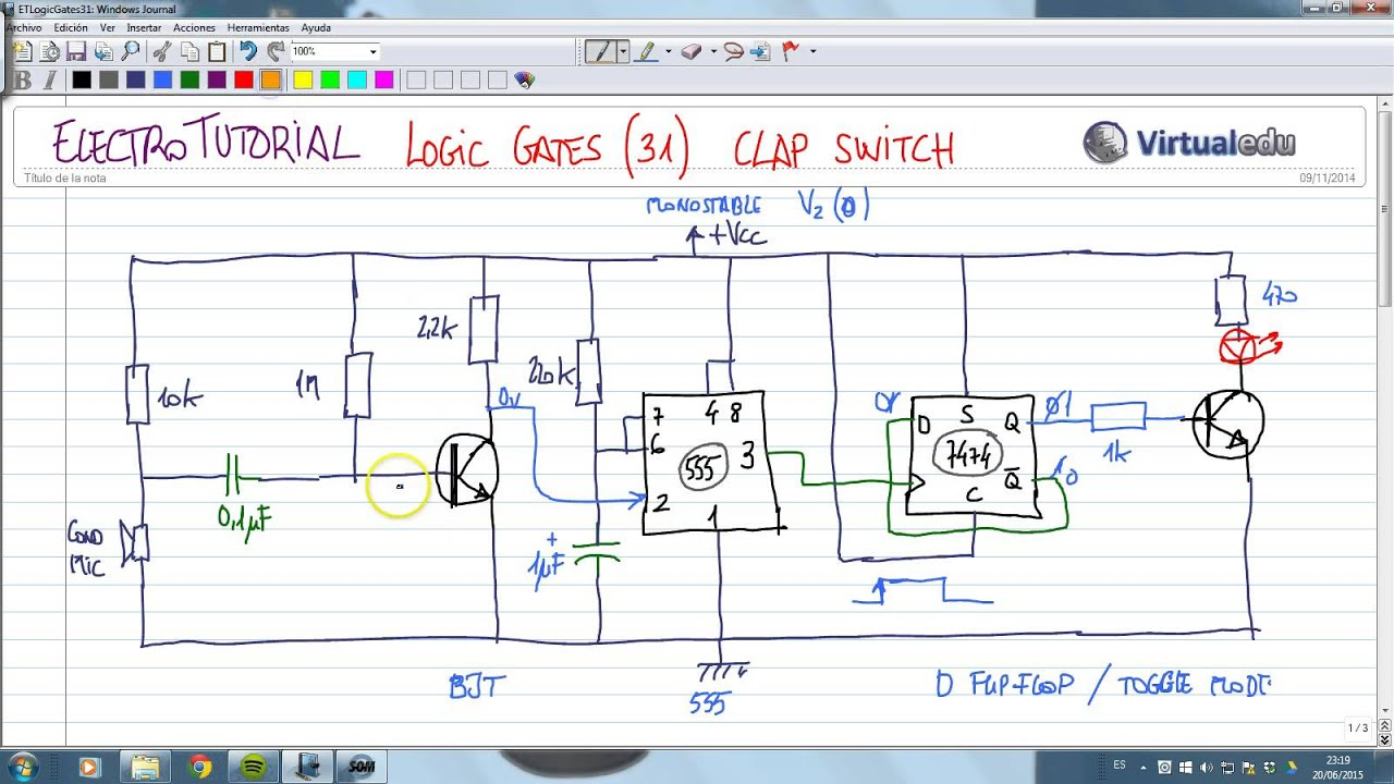 ElectroTutorial 770 Logic Gates (31) Clap Switch - YouTube