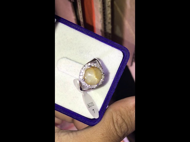 Total Weight 18.60ct Unheated Natural Cabochon 6 Ray Yellow Star Sapphire 925 Silver Ring 7US